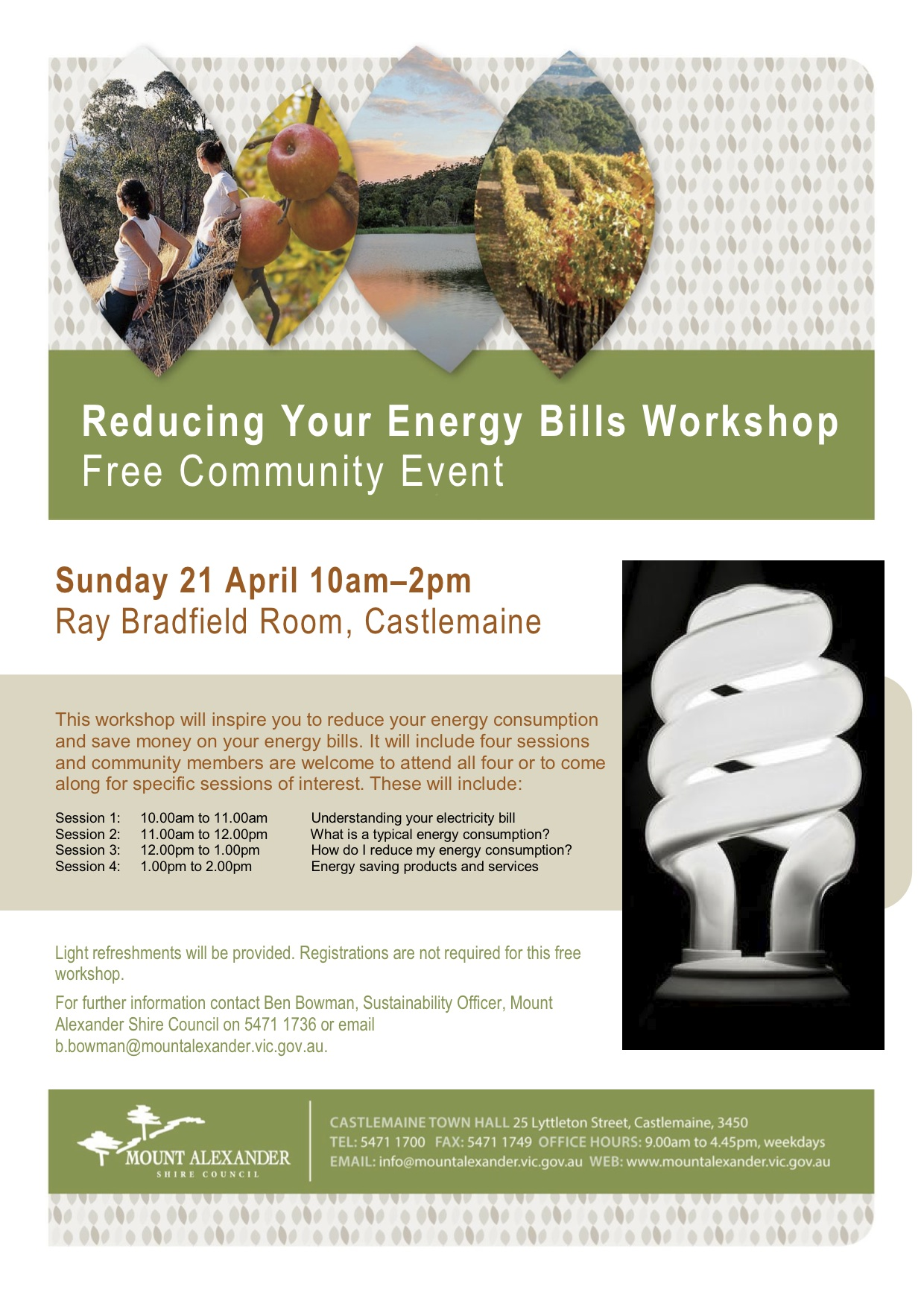 Flyer - Reducing Your Energy Bills Workshop