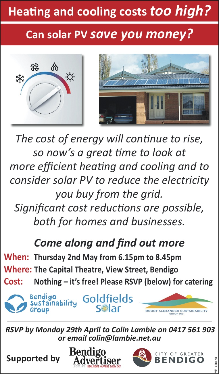 Heating and Cooling - Solar PV information session flyer
