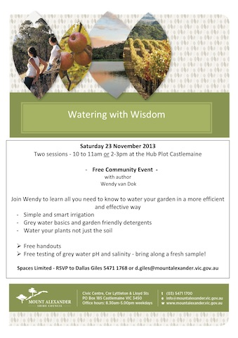 Flyer - Watering with Wisdom - 23 November 2013