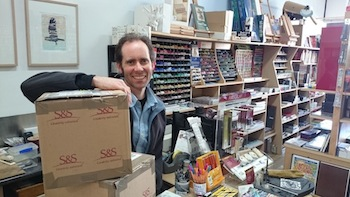 ?Mark Walker from Castlemaine Art Supplies with packaging to be re-purposed in the community