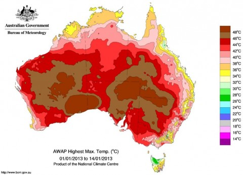 aussie heat record high temp weather map