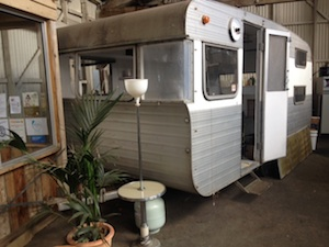 An old caravan from the Maldon Caravan Park is being renovated at The Food Garden to extend their cafe