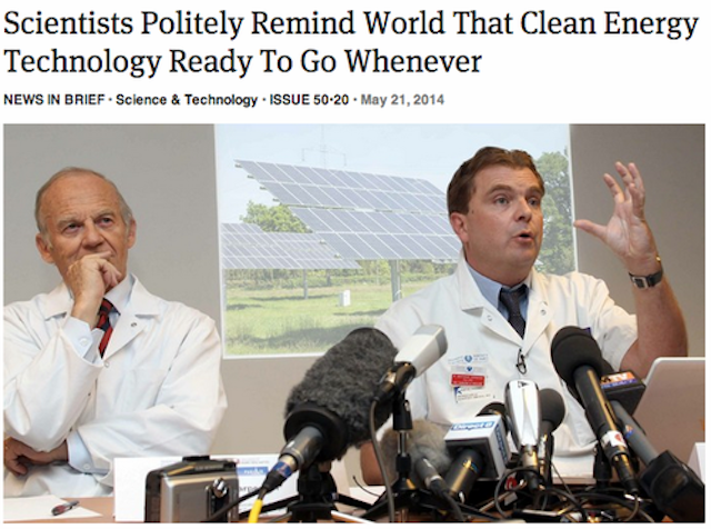 Image result for the onion scientists global warming politely clean energy technology